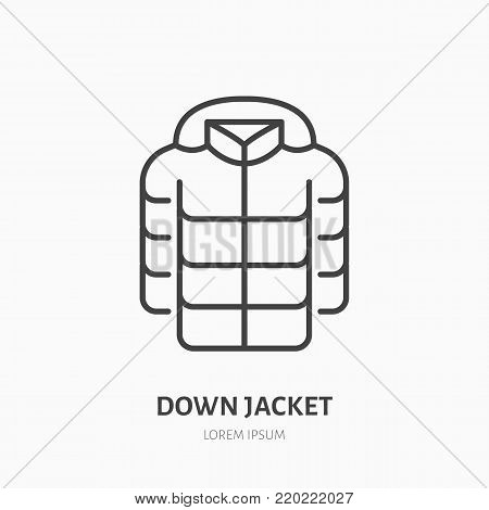 Down jacket flat line icon. Cold weather clothing sign. Thin linear logo for apparel shop.