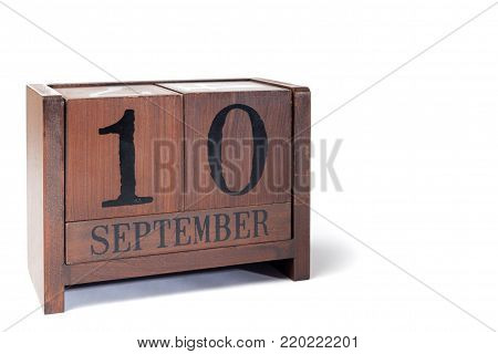 Wooden Perpetual Calendar set to September 10th