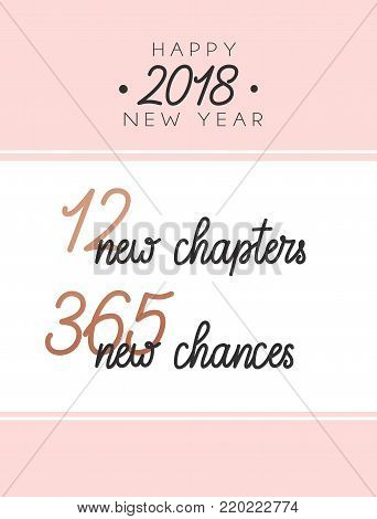 12 new chapters 365 new chances new year card. trendy pink design with golden elements and lettering. new year greeting card.
