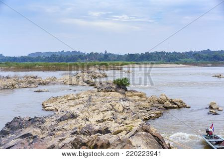 Viewpoint of rock formations in the middle of Mekong river in Nong Khai Grand Canyon or Phan Khot Saen Khrai , Nong Khai , Thailand