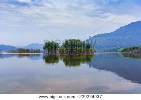 Beautiful scenery of Nong Khai Grand Canyon or Phan Khot Saen Khrai  along Mekong river with reflection , Nong Khai , Thailand