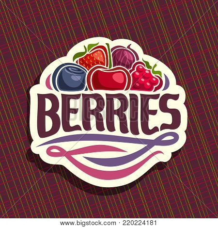 Vector logo for Berries, cut sign with fresh strawberry, red gooseberry, healthy blueberry, cherry berry, ripe raspberry on geometric background, veg mix label with text berries for vegan nutrition.