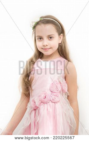 Child Smile In Rosy Dress Isolated On White