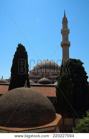 Suleymaniye Mosque Or Mosque Of Suleiman In Rhodes, Greece
