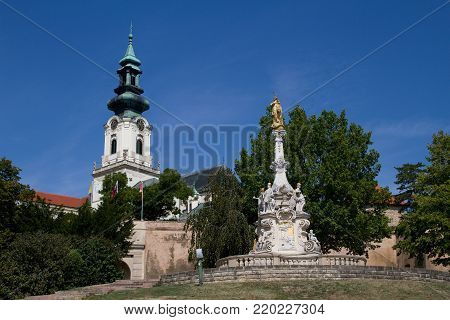 Nitra castle and immaculata in Slovakia in Europe