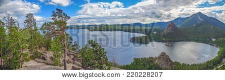 Panoramic view from the mountain top of Lake Borovoye. Kazakhstan