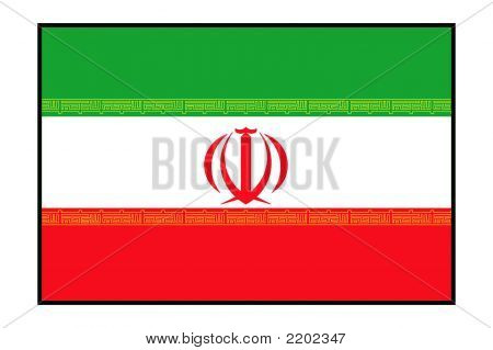 Flag Of Iran On The White Background