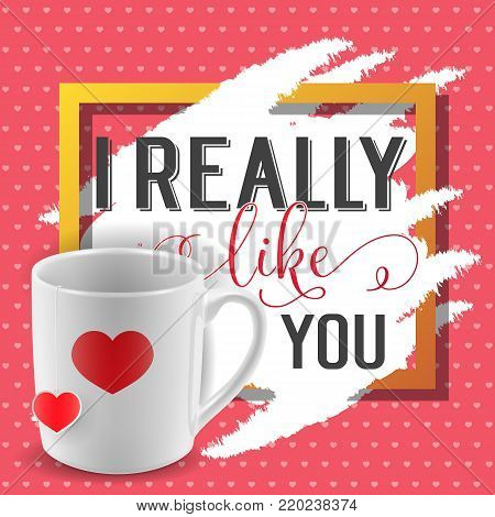 I really like you lettering in frame with tea cup and heart-shaped tag. Calligraphic inscription can be used for greeting cards, romantic messages, posters, banners.