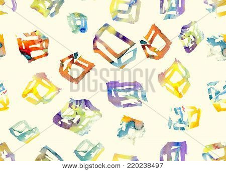 Memphis cube seamless pattern. Watercolor boxes background. Square geometric element. Modern graphic design for textile. Seamless pattern with watercolor memphis boxes and cubes. Abstract trendy tile.