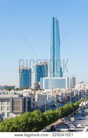 Riyadh, Saudi Arabia, KSA - December 04, 2017 buildings, skylines, houses and Kingdom tower in Riyadh