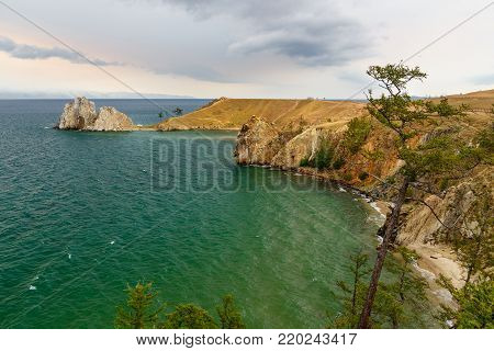 View Of Shaman Rock. Lake Baikal. Olkhon Island. Russia