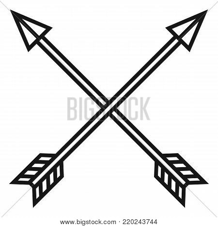 Vector Black Medieval Icon Of Crossed Arrows