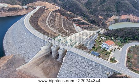 Aerial. Structure gateway for draining water on a dam Odelouca. Algarve Monchique.