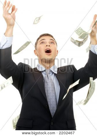 happy successfull businessman in money rain over white poster