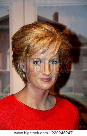 London, - United Kingdom, 08, July 2014. Madame Tussauds in London. Waxwork statue of Princess Diana