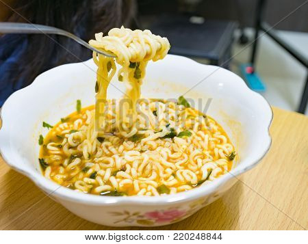 Cooked Instant Noodle Korean Style