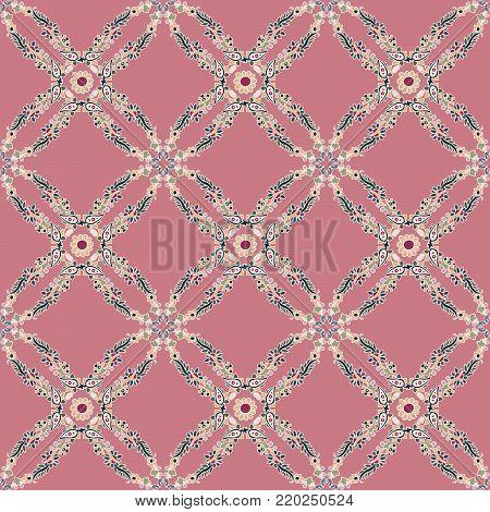 Seamless geometric vector paisley pattern. Ethnic floral motif, primitive oriental elements, rhomboid kaleidoscope layout, on pink background.