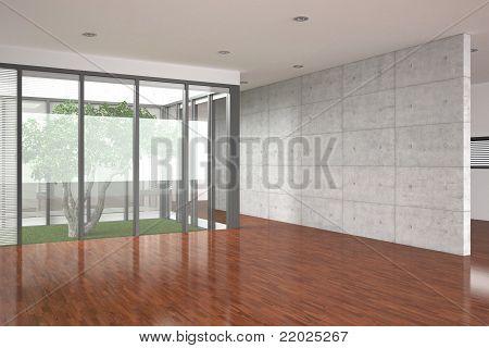 Modern Empty Interior With Parquet Floor