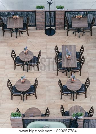Above View Of Cafe In Shopping Mall