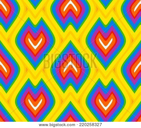 multi-colored wallpaper design in flame shaped scales