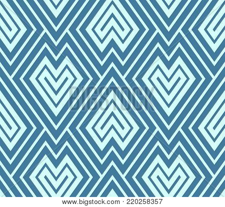 Aqua scales.  Geometric abstract wallpaper in art deco chevrons overlaid like scales