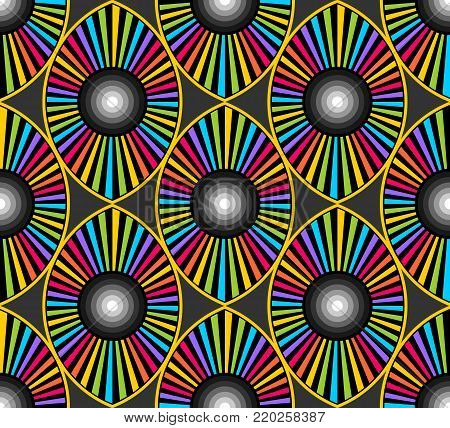 seamless op art pattern of eye shapes with rays and concentric circles in many colors