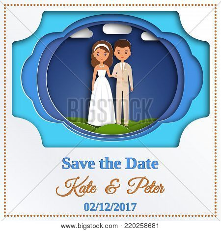 Wedding invitation. Save the date card with bride and groom in paper cut style. Vector graphics. Cartoon couple newlyweds. Art of Paper.