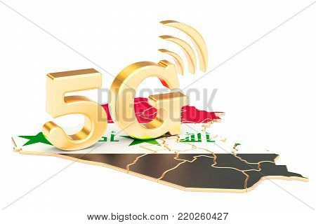 5G in Iraq concept, 3D rendering isolated on white background