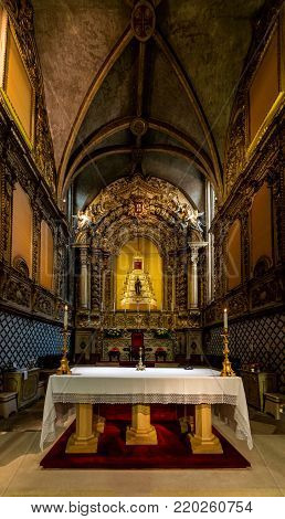 Tomar, Portugal, August 10, 2017: Altar of the 15th-century Church of St. John the Baptist, built by King Manuel I in the Manueline style.