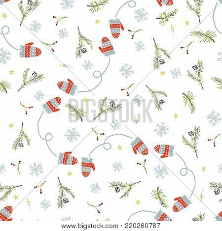 Merry Christmas and Happy New Yea set of modern seamless backgrounds with traditional symbols: Christmas trees, mittens, star, snowflakes