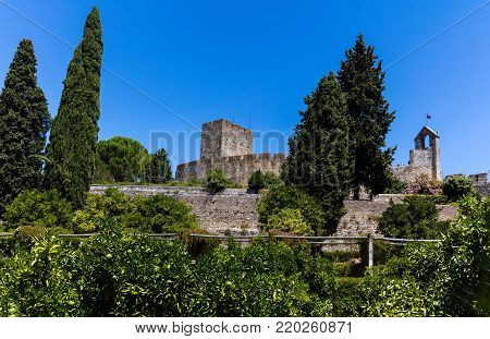 Walls of the 12th-century Knights Templar castle in Tomar, Portugal