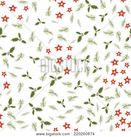 Merry Christmas and Happy New Yea set of modern seamless backgrounds with traditional symbols: Christmas trees