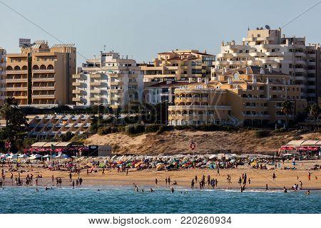 Portimao, Portugal, August 19, 2017: Praia da Rocha (Stone beach) is one of Portimao's major attractions.