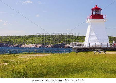 Neils Harbour Lighthouse in Nova Scotia. Nova Scotia, Canada.