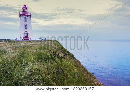 Souris East Lighthouse on Prince Edward Island. Prince Edward Island, Canada.