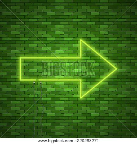 Neon Arrow Sign. Electric light arrow. Stock vector