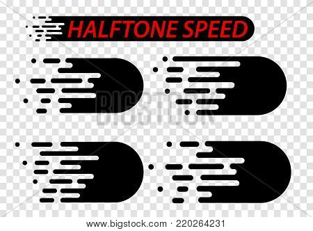 Speed lines set isolated on white. Motion effect illustration.Gradient background design.Vector illustration.