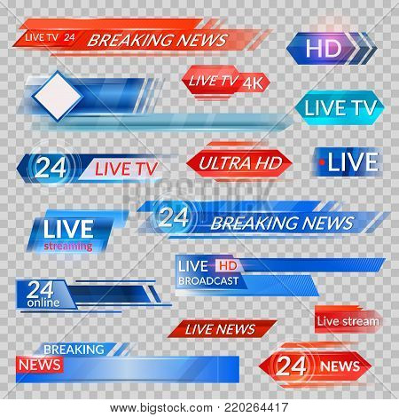 Tv news and streaming video banners. Live, hd, 24 hours online display advertisements, commercials that appear before news or programmers. Vector flat style cartoon illustration