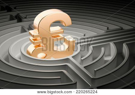 Pound sterling sign at center of dark maze, 3D rendering
