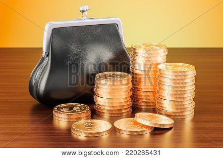 Purse with golden coins around on the wooden table. 3D rendering