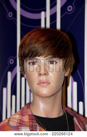 London, - United Kingdom, 08, July 2014. Madame Tussauds in London. Waxwork statue of Justin Bieber.