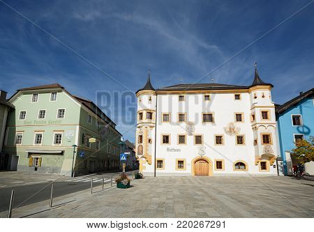TAMSWEG/ AUSTRIA - OCTOBER 11, 2017. Town hall building on the central square of the market town of Tamsweg. Central Eastern Alps, Lungau region, state of Salzburg, Austria