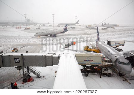 MOSCOW/ RUSSIA - DECEMBER 26, 2017. The flying field in the winter. Sheremetyevo Airport, Moscow, Russia.