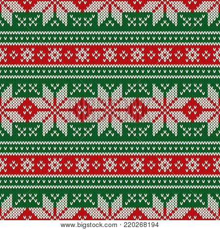 f08cebfce378 Traditional Christmas Seamless Knitted Pattern with Snowflakes. Christmas  and New Year Design Background. Knitting