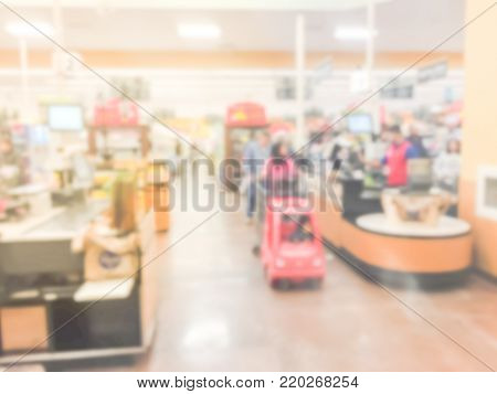 Blurred Busy Cashier, Line Of Crowd Customers At Check-out Counter