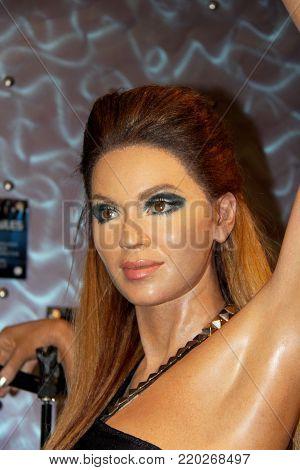London, - United Kingdom, 08, July 2014. Madame Tussauds in London. Waxwork statue of Beyoncé