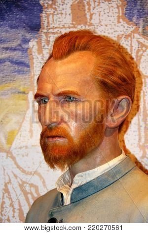 London, - United Kingdom, 08, July 2014. Madame Tussauds in London. Waxwork statue of Vincent Van Gogh