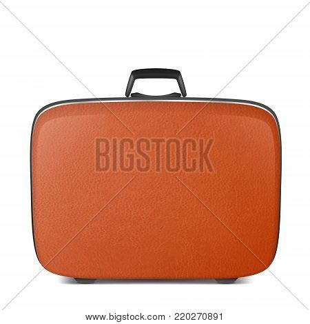 Realistic vector retro vintage leather brown suitcase closeup isolated on white background. Design template, clipart or mockup for graphics, branding, advertising. Side view.