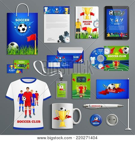 Soccer sport club corporate identity for football team branding. Business card, folder cover, letterhead layout and office stationery with football players, soccer ball and winner trophy cup