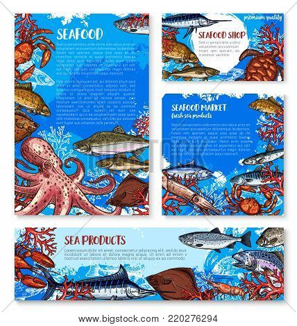Seafood shop and fish market templates. Crab, lobster and salmon, shrimp, blue marlin and tuna, flounder, octopus and squid, turtle, herring and carp sketch for fishing sport or restaurant menu design